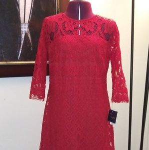 NWT Just Taylor Red Lace Dress Size 6